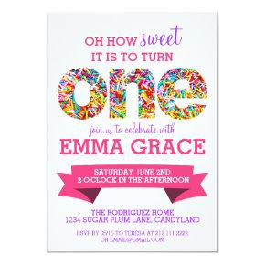 Sprinkles half birthday invitation cute modern card candied clouds candy theme 1st birthday party sprinkles invite filmwisefo