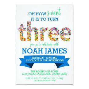 Candy Theme 3rd Birthday Party Sprinkles BLUE Invitation
