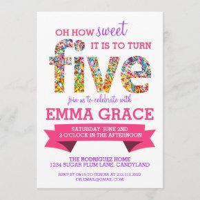 Candy Theme 5th Birthday Party Sprinkles Invite