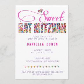 Candy Theme BAT MITZVAH Birthday Invitation