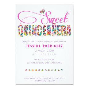 Candy Theme Quinceañera Birthday Invitation