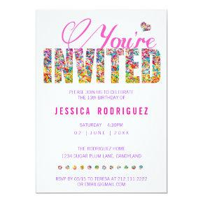 Candy Theme Sprinkles Birthday Party Invitations