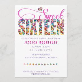 Candy Theme Sweet Sixteen Birthday Invitation