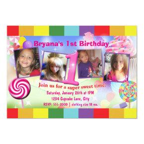 Candyland 1st Birthday Party 4 Photo Invitations
