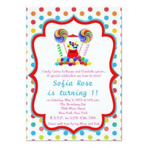 Candyland Candy First Birthday Birthday Invitations