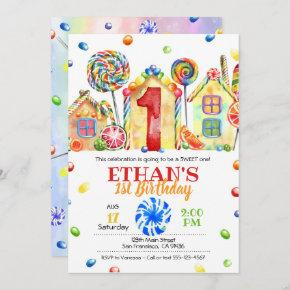 Candyland Candy Invitation for Candy Theme -1st