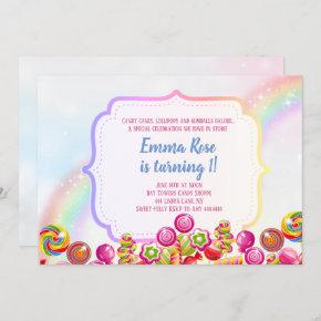 Candyland candy theme birthday party invitation