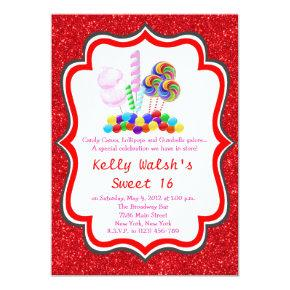 Candyland Glitter Candy Sweet 16 Invitations