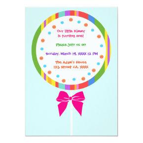 Candyland Lollipop Birthday Invitations