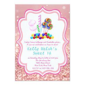 Candyland Rose Gold Glitter Sweet 16 Invitation