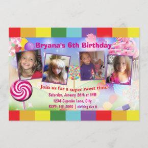 Candyland Sweet Birthday Party 4 Photo Invitation