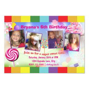 Candyland Sweet Birthday Party 4 Photo Invitations