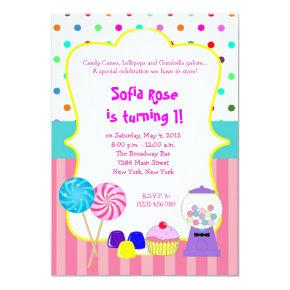 Candyland Sweet Shoppe Birthday Invitations