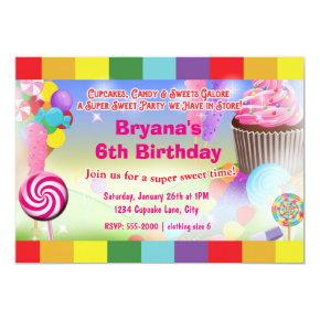 Candyland Sweets Cupcake Birthday Party Invitations