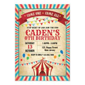 Vintage Carnival Birthday Invitations Candied Clouds