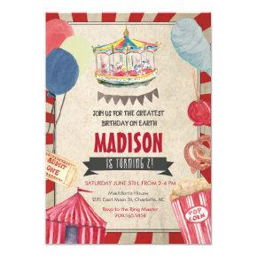 Carnival Birthday Invitation, Circus Birthday Invitation