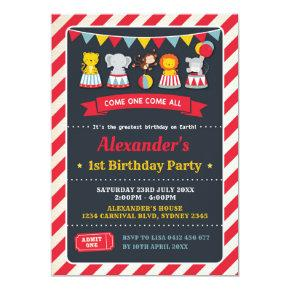 Carnival Circus Animals Birthday Chalkboard Invite