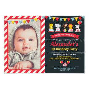Carnival Circus Animals Birthday Party Invitation