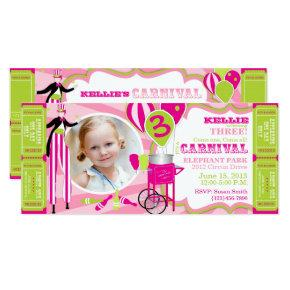 Carnival Circus Stilt Walker Birthday Invitation