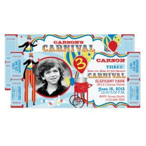 Carnival Circus Stilt Walker Birthday Invitations