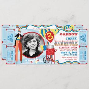 Carnival Circus Stilt Walker Birthday Invitation