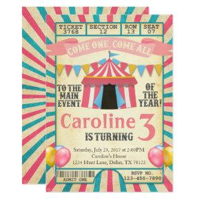 Carnival Circus Ticket Birthday Party Invitation