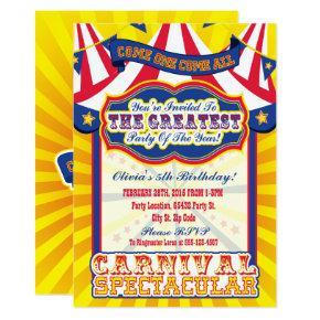 Carnival Spectacular Birthday Invitations