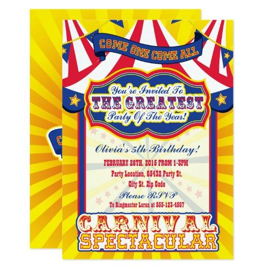 Carnival Spectacular Birthday Invitations