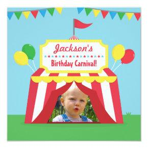 Carnival Themed Kids Birthday Party Photo Invitation