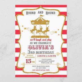 Carousel birthday invitation Amusement park invite