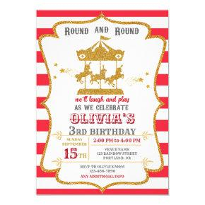Carousel birthday invitation Amusement park invite