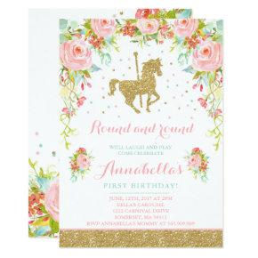 Carousel Birthday Invitations Floral Pink Mint Gold
