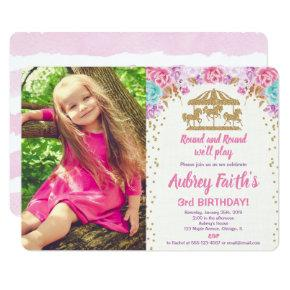 Carousel pink gold teal photo birthday invitation