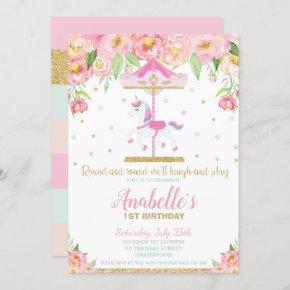 Carousel Unicorn 1st Birthday Pink Floral Girl Invitation