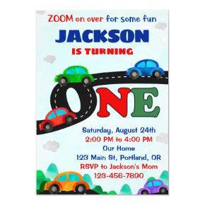 Cars birthday invitation Driver boy first birthday