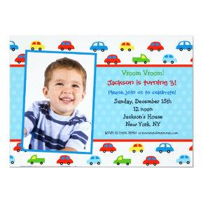 Cars Truck Photo Birthday Party Invitations boy