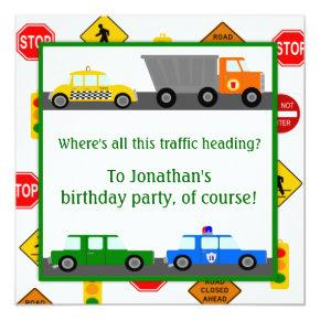 Cars, Trucks and Street Signs Children's Birthday Invitations