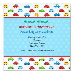 Cars Trucks Birthday Party Invitations Kids boy