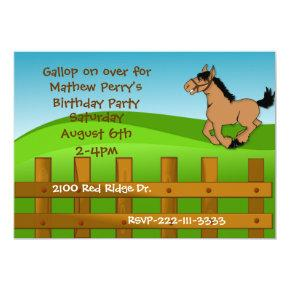 Cartoon Horse Birthday Invitation