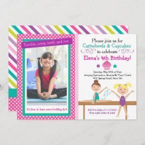 Cartwheels and Cupcakes Gymnastics Birthday Invitation