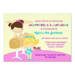 Cartwheels and Cupcakes Gymnastics Birthday Party Invitations