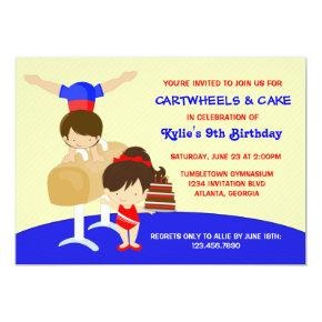Cartwheels and Cupcakes Gymnastics Birthday Party Invitations