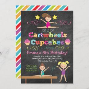 Cartwheels & Cupcakes Chalkboard Gymnastics Party Invitation