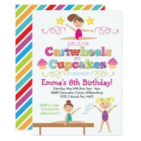 Cartwheels & Cupcakes Gymnastics Birthday Party Invitation