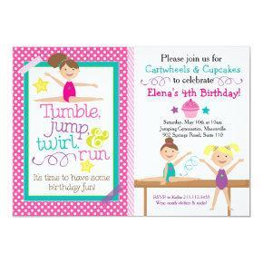 Cartwheels & Cupcakes Gymnastics Party Invitations