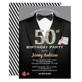 Casino 50th birthday Invitations. Black and gold Invitations
