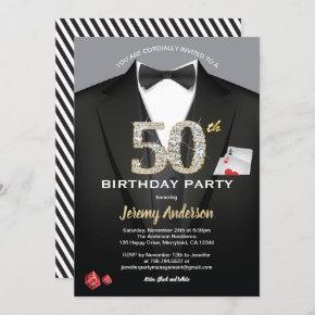 Casino 50th birthday invitation. Black and gold Invitation