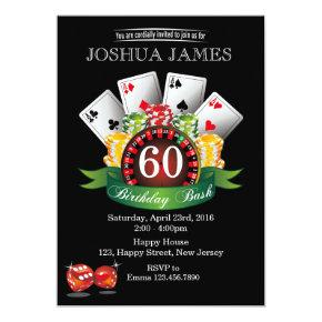 Casino 60th Birthday Invitations - any age