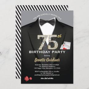 Casino 75th birthday invitation. Black and gold Invitation