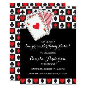 Casino Playing  Birthday Invitation